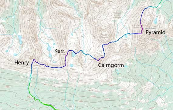 Pyramid to Cairngorm to Kerr to Henry traverse route