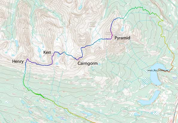 The Victoria Cross Range traverse route from Pyramid Mountain to Mt. Henry