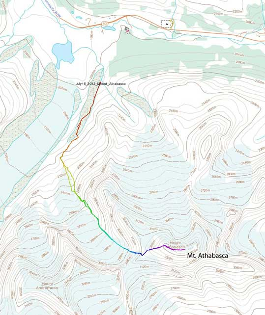 Mt. Athabasca climbing route via AA Col