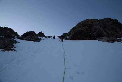 Going up the steep slope towards AA col. Photo by Ben N