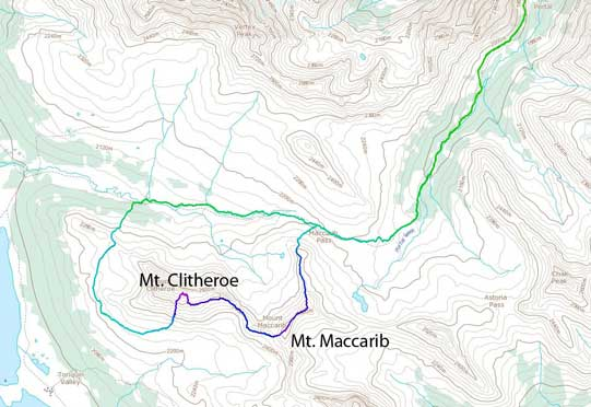 Mt. Maccarib and Mt. Clitheroe scramble route