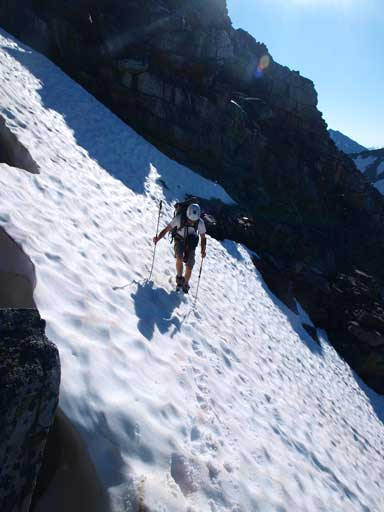 Crossing the first snow gully