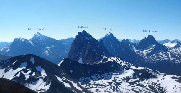 Impressive peaks with labels. Edith Cavell is the least impressive in this group...