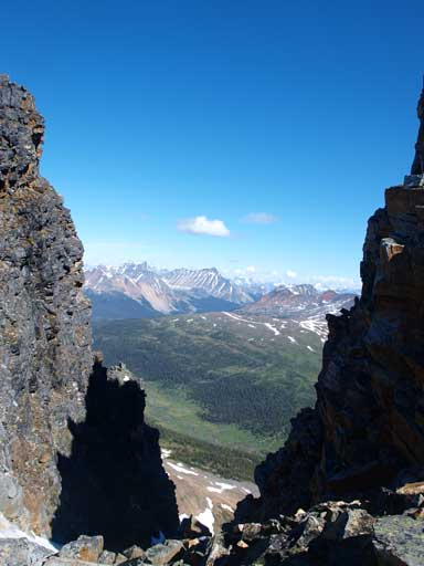Looking through a gap on the summit ridge