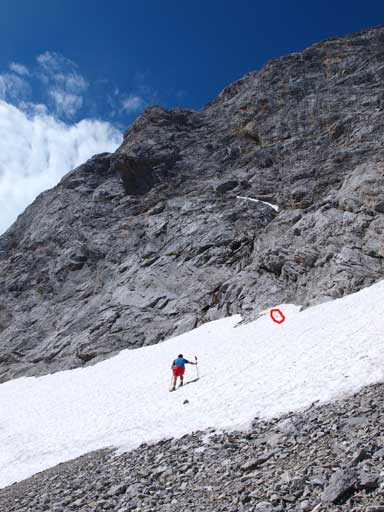 A gusting wind blew away Grant's hat, and he had to get up a snow slope to retrieve it (in red circle)