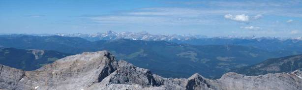 Looking over the summit of Phillipps Peak towards the distant Fernie area