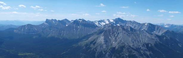 Panorama of Flathead Range, with Mount Ptolemy being the highest.