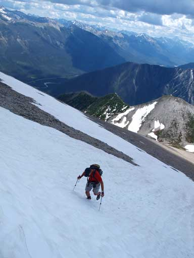 Vern kicking-step up the snow route