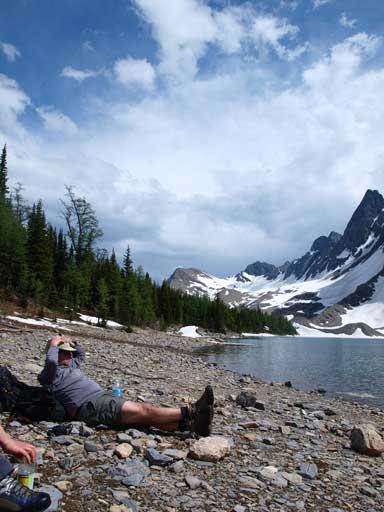 Dave Salahab resting beside the lake