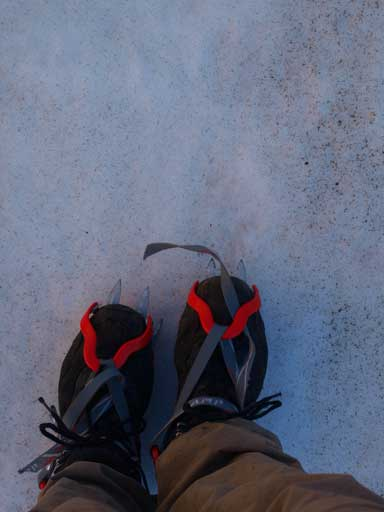 Crampons on.