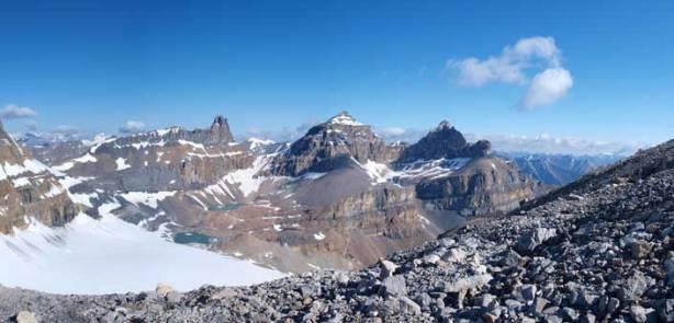 The three peaks of Whitegoat Peaks.