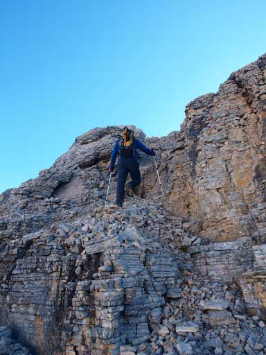 Vern scrambling up Lion Peak