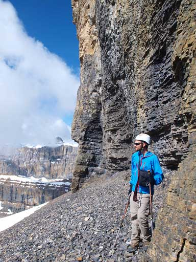 Ben beneath Lion Peak's imposing cliff band