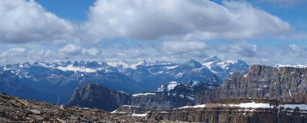 Freshfield Icefields, and Mount Forbes in the distance.