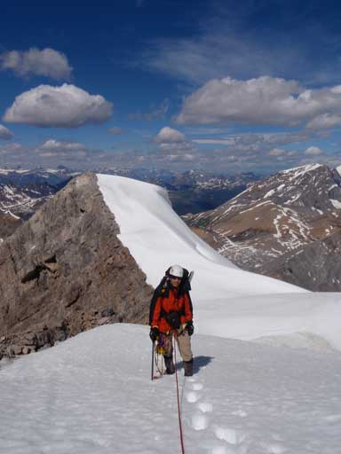 Me following up the summit ridge. Photo by Kevin Barton