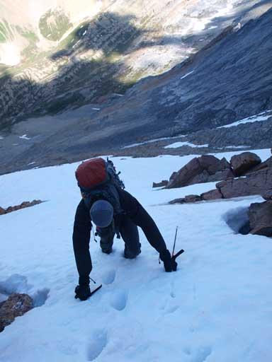Kevin ascending a snow slope