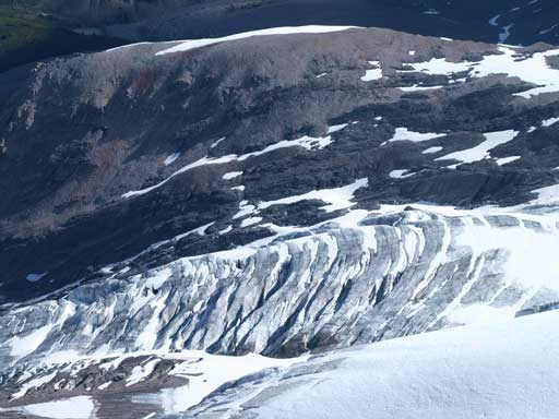 The winter route up Brazeau Icefield goes up Coronet Glacier. Look at this part...