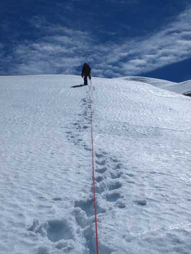 Kevin approaching the summit