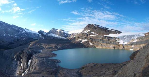 Panorama of the Falls, Iceberg Lake, and Bow Glacier