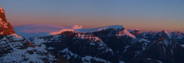 Glow on Sir Winston Churchill Range. You can see the familiar Icefield peaks