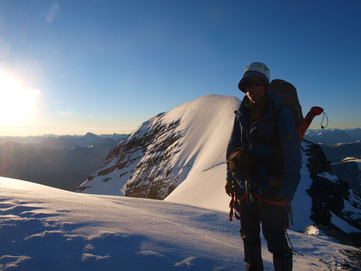 Me on Silverhorn, with the true summit of Athabasca behind