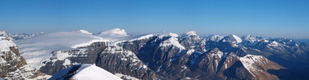 Panorama of Sir Winston Churchill Range from the summit.