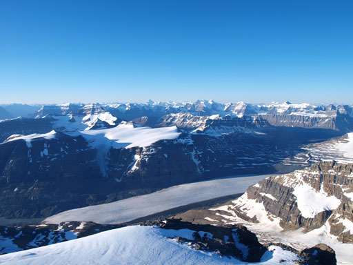 Part of the long long approach via Saskatchewan Glacier can be seen from here.