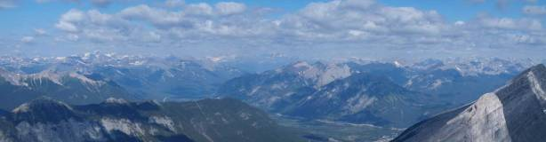 Panorama looking over Sulphur Mountain towards Massive and Sawback Ranges
