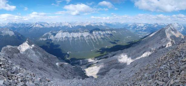 Panorama of northwest side. You can see the long ridge of Sulphur Mountain