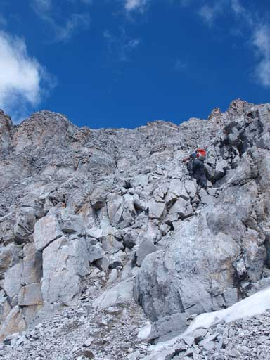 Down-climbing the last bit to leave the upper gully behind.