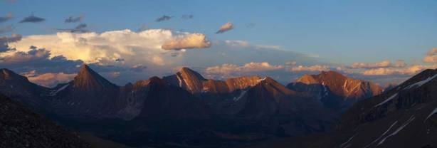 A zoomed-in panorama towards the group of front range peaks, looking east