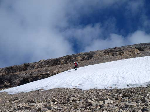 Shaun descending the only bit of snow on Brazeau's south face