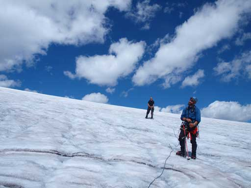 Clayton and Shaun descending the last bit on the main icefield