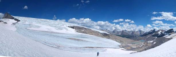 Almost back to our bivy site. Panorama view of the glacier