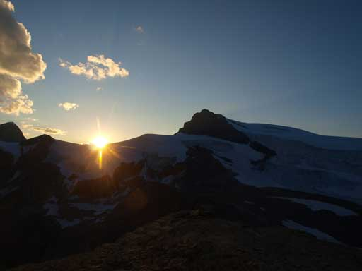 Sunset over Coronet Glacier