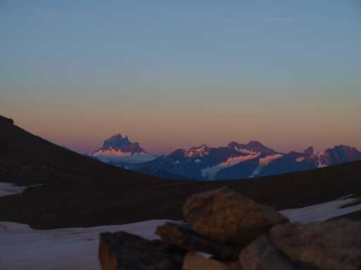 Alpenglow on Mount Alberta, from my bivy sack