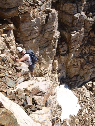 Scrambling up a difficult route