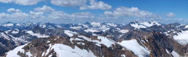 Distant glaciated peaks