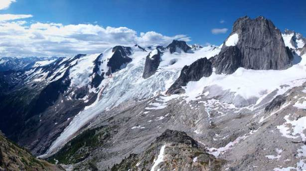 Panorama of Bugaboo Glacier from the west ridge of Eastpost Spire