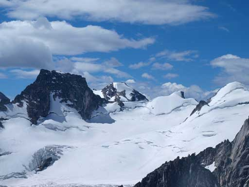 The higher part of Bugaboo Glacier. Marmolata on left