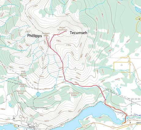 Phillipps Peak and Mt. Tecumseh scramble route