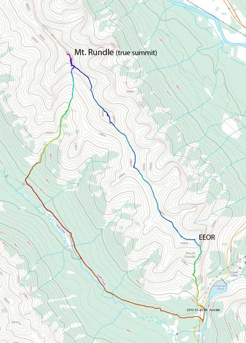 Mt. Rundle (true summit) scramble route