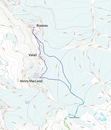 Brazeau to Valad to Henry MacLeod traverse route