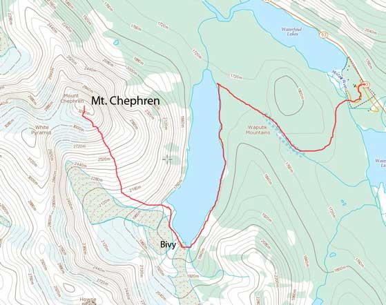 Mt. Chephren standard scramble route