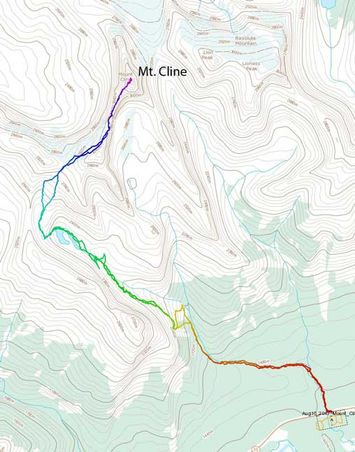 Mt. Cline ascent route via SW Ridge. Alpine II, 5.4