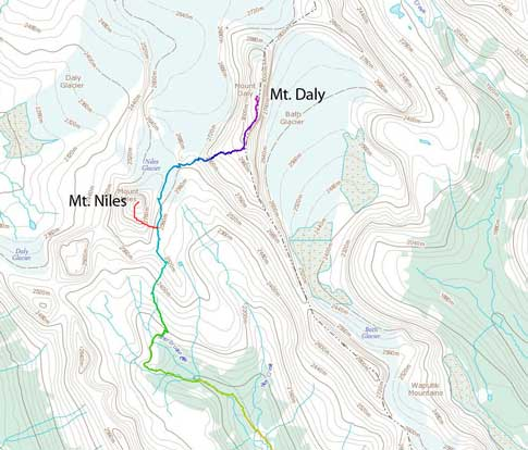 Mt. Daly and Mt. Niles scramble route