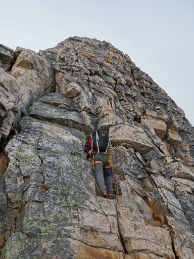 Me starting the 2nd crux. Photo by Mike Mitchell