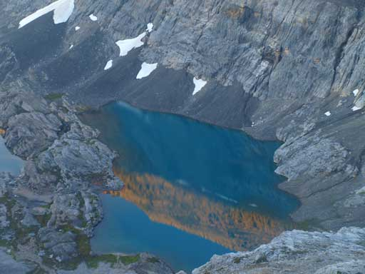 Looking down at the upper Cline Lake