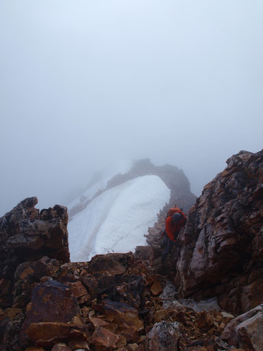 Continuing up step terrain in a near white-out condition