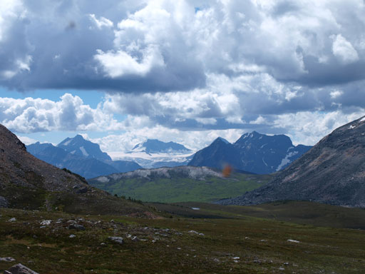 Looking over Vendant Pass towards Hooker Icefield